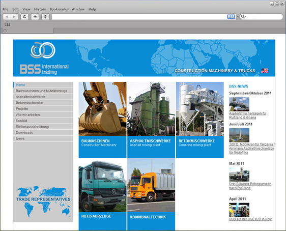 Homepage Design Baumaschinen